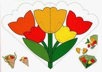 Цветок из бумаги для открытки для детей 78